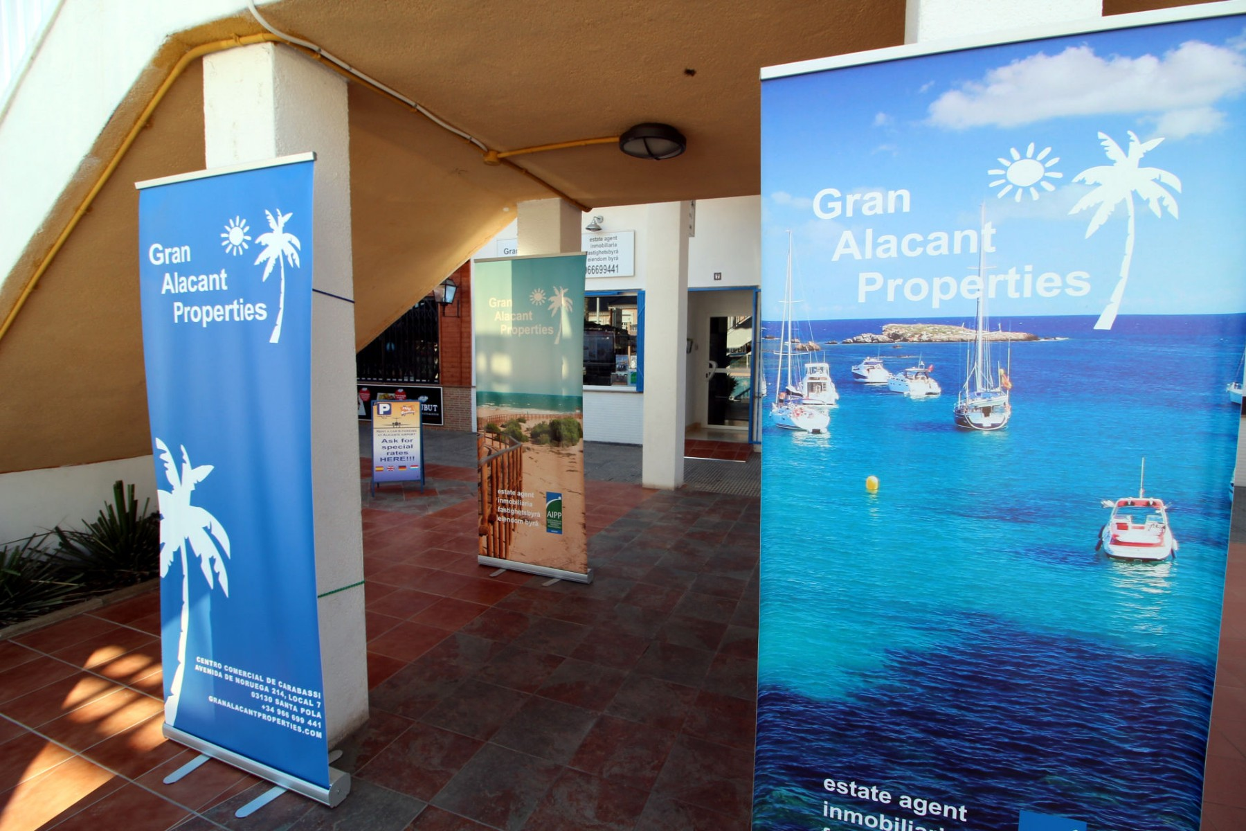 Gran Alacant Properties office terrace with banners